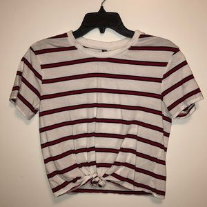 FRONT TIE STRIPED SHIRT
